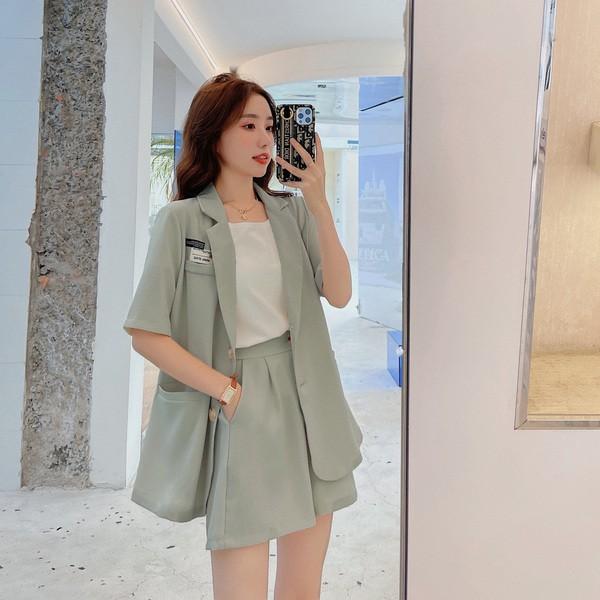 【預購6.53IBV】992氣質少女顯瘦寬西裝套裝(灰綠)