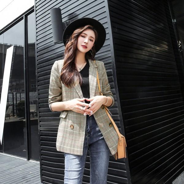 【7.26IBV】新款韓版格子小西裝外套