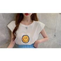 【現貨3.85IBV】韓版 微笑墊肩T恤