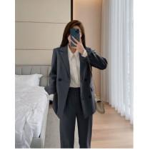 【預購12.41IBV】807# 韓國新款 時尚西裝氣質顯瘦套裝(灰色)