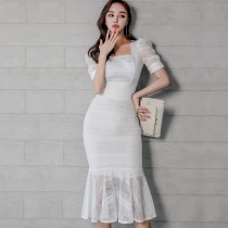 【預購 7.99IBV】夏季韓版氣質修身蕾絲上衣魚尾裙套裝