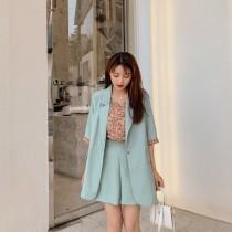 【預購6.53IBV】956花花小背心西裝套裝(藍色)