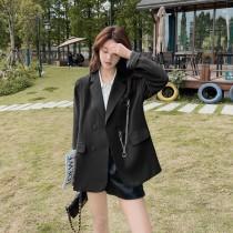 【預購6.53IBV】990# 韓版時髦吊鍊西裝外套(黑色)