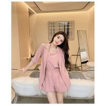 【預購8.65IBV】996網紅版雪紡三件式西裝套裝(粉色)