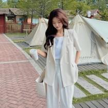 【現貨6.53IBV】991休閒寬鬆款短袖西裝外套(杏色)
