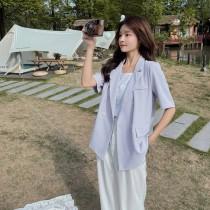 【預購6.53IBV】991休閒寬鬆款短袖西裝外套(藍色)