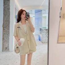 【預購6.53IBV】992氣質少女顯瘦寬西裝套裝(杏色)