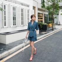 【預購7.26IBV】921韓版寬鬆系帶西裝套裝(藍色)