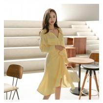 【預購5.79IBV】法式復古高腰襯衫連衣裙
