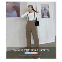 【現貨6.99IBV】1250# 2021秋季新款寬鬆高腰垂感寬長褲(吊帶可拆)
