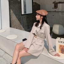 【預購8.06IBV】973新款垂感韓版繫腰帶氣質休閒西服外套(杏色)
