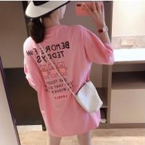 【現貨3.06IBV】夏季百搭小熊字母寬松短袖t恤(粉色)
