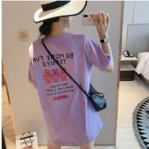 【現貨3.06IBV】夏季百搭小熊字母寬松短袖t恤(紫色)