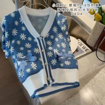 【現貨3.85IBV】甜美復古花朵短袖針織衫