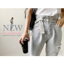 【現貨5.42IBV】小個子推薦款 百搭高腰顯瘦腰帶直筒刷破牛仔褲(L-XL)