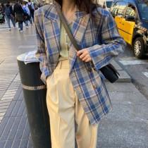 【現貨7.26IBV】新款英倫風寬鬆復古格子西裝外套(藍色)