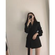【現貨10.84IBV】韓國設計感修身綁帶西裝外套(黑色)