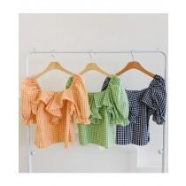 【現貨4.64IBV】韓版俏皮甜美一字領荷葉邊泡泡袖格子襯衫(綠色)