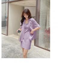 【現貨6.99IBV】997# 韓版2021夏季垂感休閑西裝套裝吊帶裙兩件套(紫色)