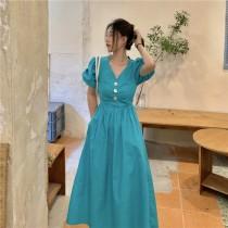 【現貨5.49IBV】韓版公主泡泡袖收腰法式復古V領連衣裙中長款(藍色)
