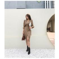 【預購11.59IBV】2021韓國女裝時髦兩件套半身裙套裝(卡其)