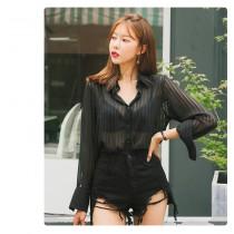 【現貨4.33IBV】時尚洋氣輕熟風黑色雪紡襯衫