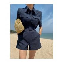 【現貨7.26IBV】韓版小個子名媛小香風休閒小西裝兩件套裝(藍色)