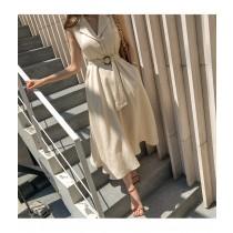 【預購7.78IBV】5119# 激瘦推薦款 赫本風收腰復古洋裝(杏)