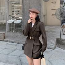 【預購8.06IBV】973新款垂感韓版繫腰帶氣質休閒西服外套(咖啡色)
