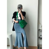 【現貨6.99IBV】韓國 2021秋牛仔魚尾裙 彈力開岔半身裙
