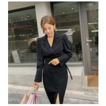 【預購11.59IBV】2021韓國女裝時髦兩件套半身裙套裝(黑色)