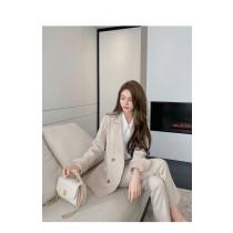 【預購12.41IBV】807# 韓國新款 時尚西裝氣質顯瘦套裝(奶油杏)