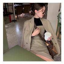 【預購11.59IBV】983# 新款女神范西裝套裝兩件套(卡其)