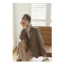 【現貨7.26IBV】980# 韓版2021年春裝高級感三粒扣西裝外套(奶油咖)