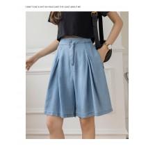 【現貨3.85IBV】2021夏季輕薄天絲牛仔褲高腰直筒寬褲(小碼)