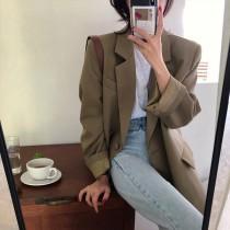【現貨7.26IBV】981韓版2021年寬鬆慵懶風顯瘦西裝外套(咖啡色)