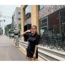 【現貨6.99IBV】韓國 設計感 收腰鏤空連衣裙 (黑)
