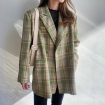 【7.26IBV】新款英倫風寬鬆復古格子西裝外套(綠色)